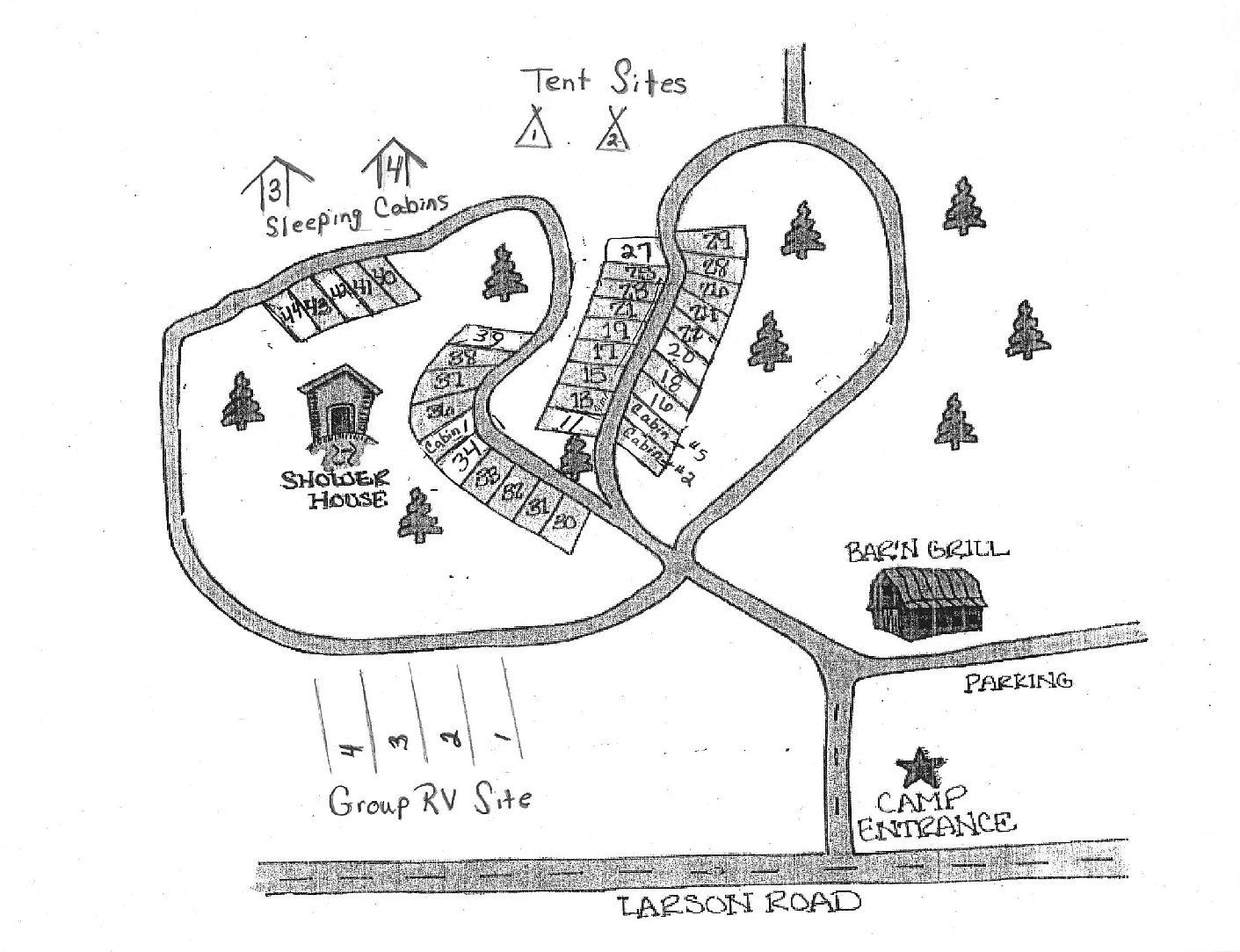Campground Map Camp Namekagon Hayward Wisconsin Rv Park